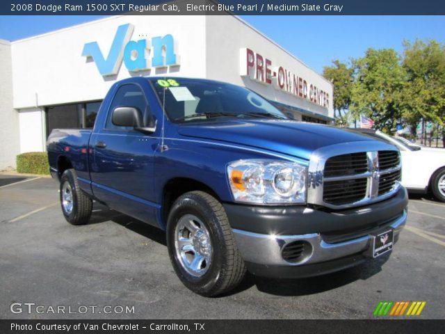 electric blue pearl 2008 dodge ram 1500 sxt regular cab medium slate gray interior. Black Bedroom Furniture Sets. Home Design Ideas