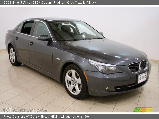 platinum grey metallic 2008 bmw 5 series 535xi sedan black interior vehicle. Black Bedroom Furniture Sets. Home Design Ideas