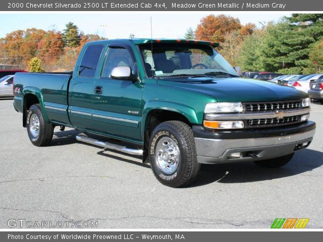 meadow green metallic 2000 chevrolet silverado 2500 lt extended cab 4x4 medium gray interior. Black Bedroom Furniture Sets. Home Design Ideas