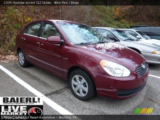 Wine Red - 2006 Hyundai Accent GLS Sedan - Beige Interior ...