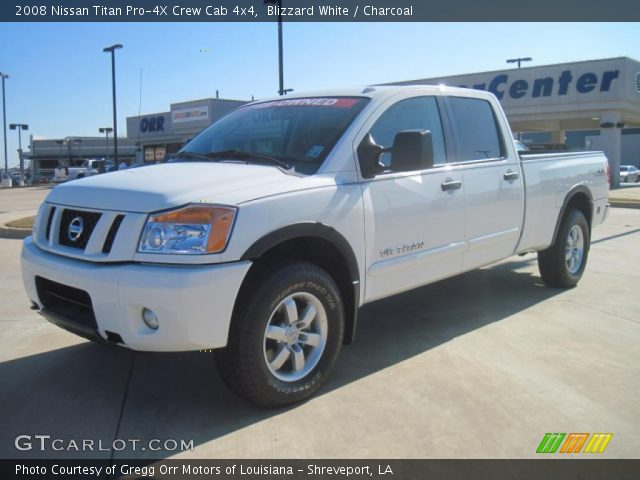 blizzard white 2008 nissan titan pro 4x crew cab 4x4 charcoal interior. Black Bedroom Furniture Sets. Home Design Ideas