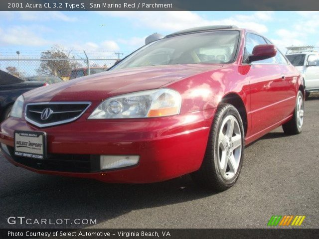 san marino red 2001 acura cl 3 2 type s parchment interior vehicle archive. Black Bedroom Furniture Sets. Home Design Ideas
