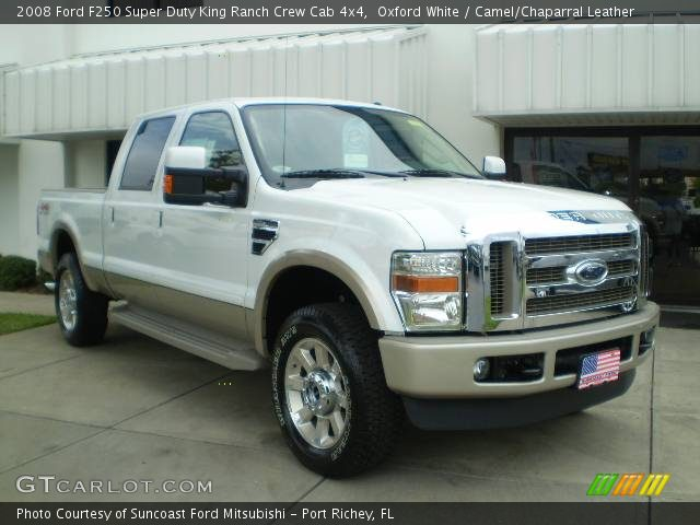 oxford white 2008 ford f250 super duty king ranch crew cab 4x4 camel chaparral leather. Black Bedroom Furniture Sets. Home Design Ideas