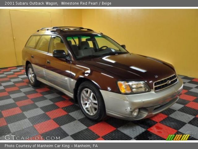 Winestone Red Pearl 2001 Subaru Outback Wagon with Beige interior 2001