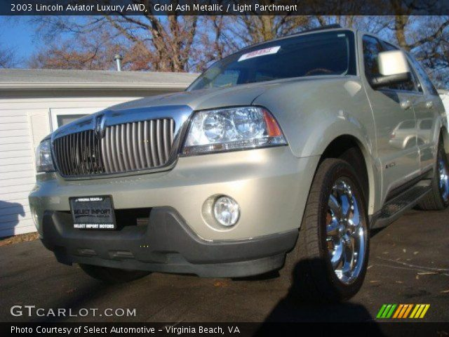 Gold Ash Metallic 2003 Lincoln Aviator Luxury Awd Light Parchment Interior