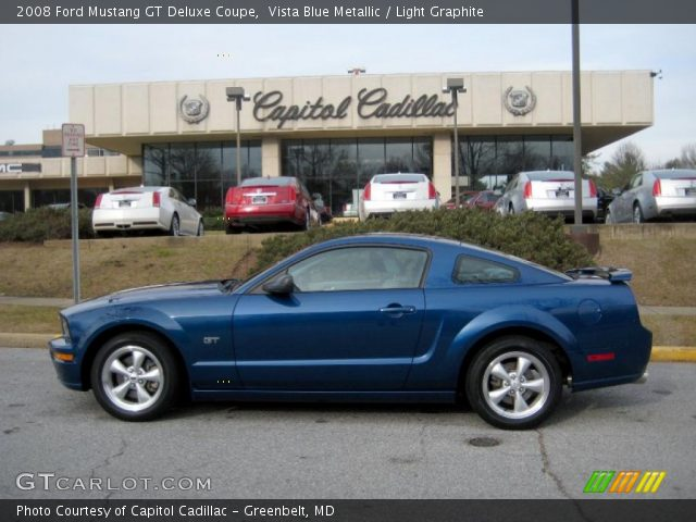 vista blue metallic 2008 ford mustang gt deluxe coupe light graphite interior. Black Bedroom Furniture Sets. Home Design Ideas