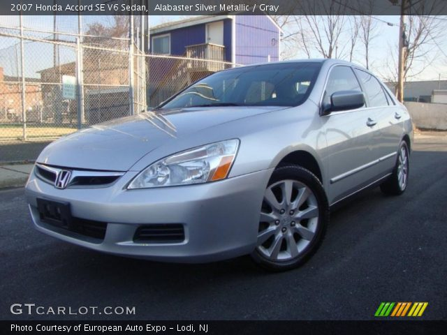 alabaster silver metallic 2007 honda accord se v6 sedan gray interior. Black Bedroom Furniture Sets. Home Design Ideas