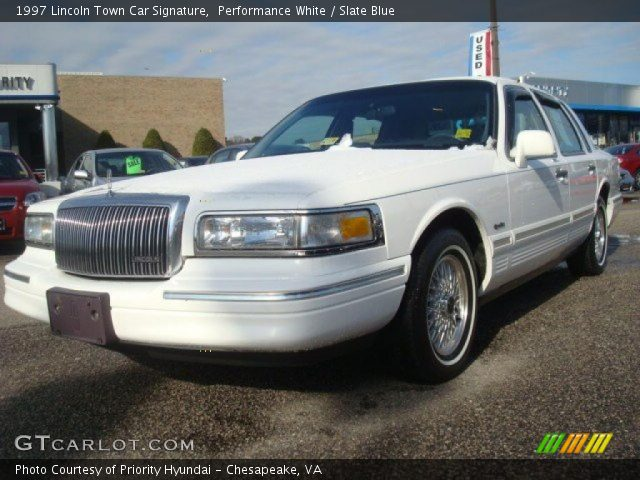 performance white 1997 lincoln town car signature slate blue interior. Black Bedroom Furniture Sets. Home Design Ideas