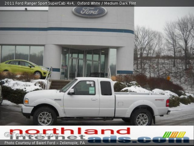 oxford white 2011 ford ranger sport supercab 4x4 medium dark flint interior. Black Bedroom Furniture Sets. Home Design Ideas
