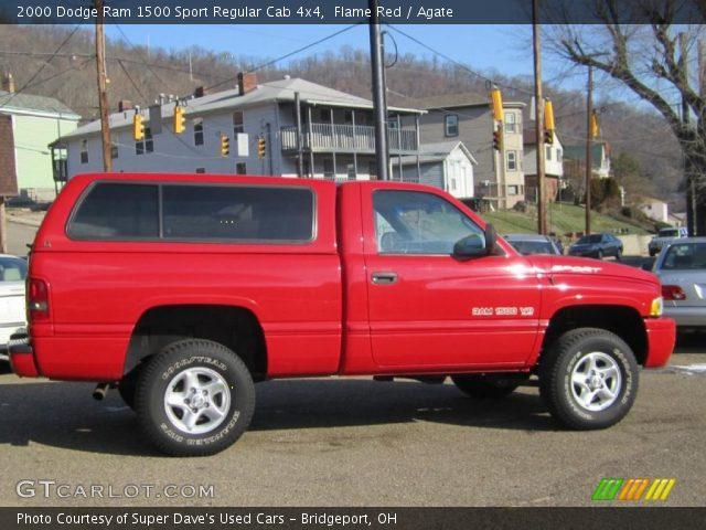 Flame red 2000 dodge ram 1500 sport regular cab 4x4 agate interior