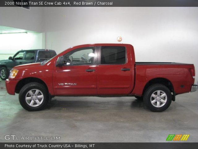 red brawn 2008 nissan titan se crew cab 4x4 charcoal interior vehicle. Black Bedroom Furniture Sets. Home Design Ideas