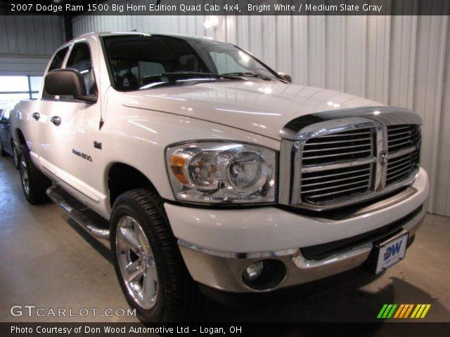 Bright White 2007 Dodge Ram 1500 Big Horn Edition Quad Cab 4x4 Medium Slate Gray Interior