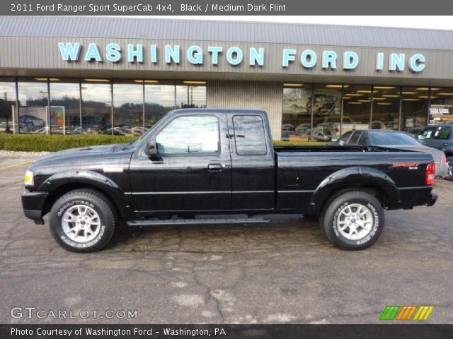 black 2011 ford ranger sport supercab 4x4 medium dark flint interior. Black Bedroom Furniture Sets. Home Design Ideas