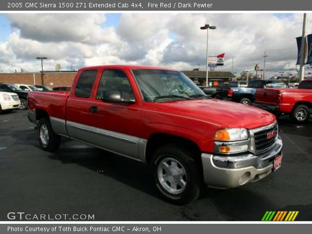 fire red 2005 gmc sierra 1500 z71 extended cab 4x4 dark pewter interior. Black Bedroom Furniture Sets. Home Design Ideas