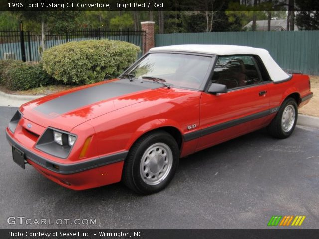bright red 1986 ford mustang gt convertible red interior vehicle archive. Black Bedroom Furniture Sets. Home Design Ideas