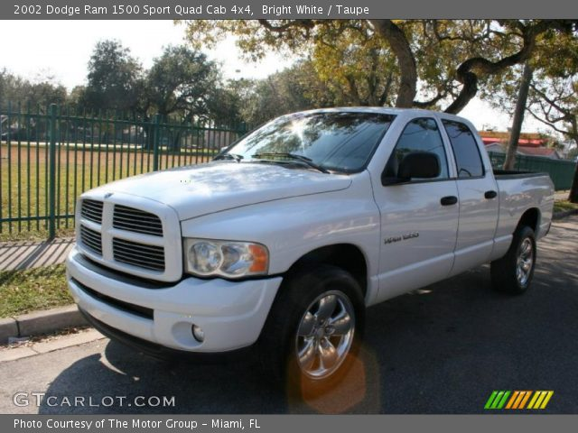 bright white 2002 dodge ram 1500 sport quad cab 4x4 taupe interior vehicle. Black Bedroom Furniture Sets. Home Design Ideas