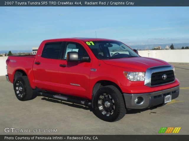 radiant red 2007 toyota tundra sr5 trd crewmax 4x4 graphite gray interior. Black Bedroom Furniture Sets. Home Design Ideas