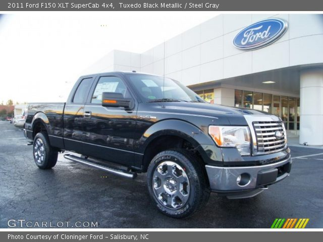 tuxedo black metallic 2011 ford f150 xlt supercab 4x4 steel gray interior. Black Bedroom Furniture Sets. Home Design Ideas