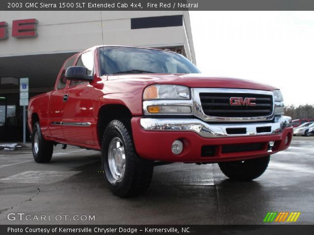 fire red 2003 gmc sierra 1500 slt extended cab 4x4 neutral interior vehicle. Black Bedroom Furniture Sets. Home Design Ideas