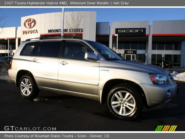millenium silver metallic 2007 toyota highlander hybrid 4wd ash gray interior. Black Bedroom Furniture Sets. Home Design Ideas