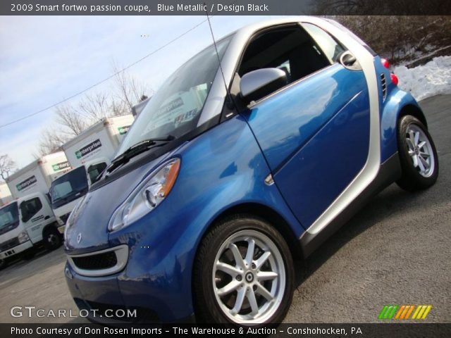 blue metallic 2009 smart fortwo passion coupe design black interior vehicle. Black Bedroom Furniture Sets. Home Design Ideas