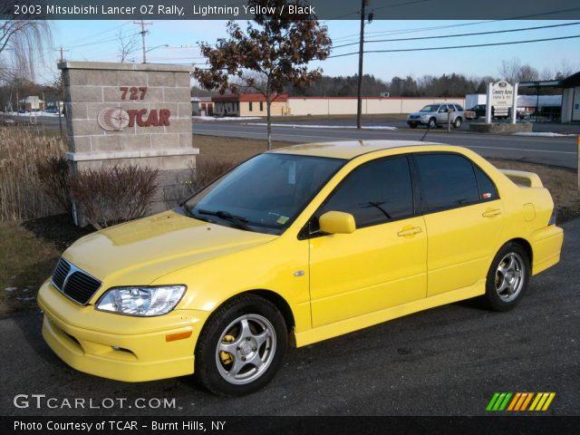lightning yellow 2003 mitsubishi lancer oz rally black interior vehicle. Black Bedroom Furniture Sets. Home Design Ideas