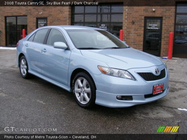 sky blue pearl 2008 toyota camry se dark charcoal interior vehicle archive. Black Bedroom Furniture Sets. Home Design Ideas