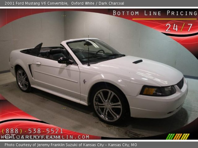 oxford white 2001 ford mustang v6 convertible dark. Black Bedroom Furniture Sets. Home Design Ideas