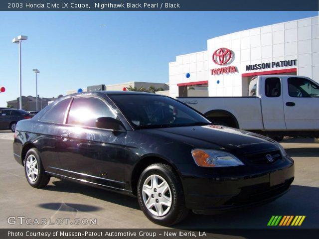 nighthawk black pearl 2003 honda civic lx coupe black interior vehicle. Black Bedroom Furniture Sets. Home Design Ideas