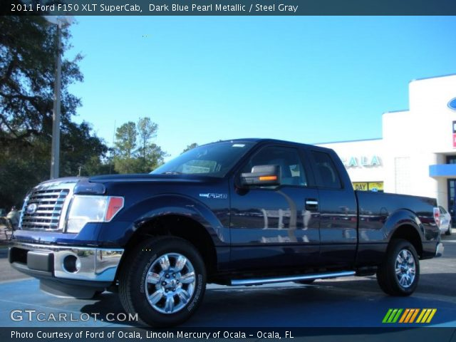 dark blue pearl metallic 2011 ford f150 xlt supercab steel gray interior. Black Bedroom Furniture Sets. Home Design Ideas