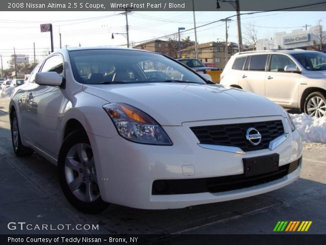 winter frost pearl 2008 nissan altima 2 5 s coupe blond interior vehicle. Black Bedroom Furniture Sets. Home Design Ideas