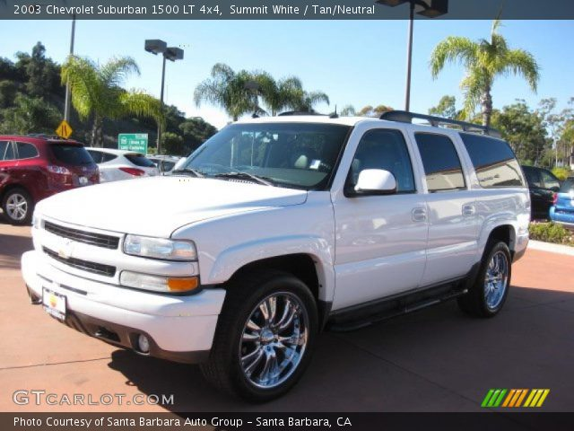 summit white 2003 chevrolet suburban 1500 lt 4x4 tan neutral interior. Black Bedroom Furniture Sets. Home Design Ideas