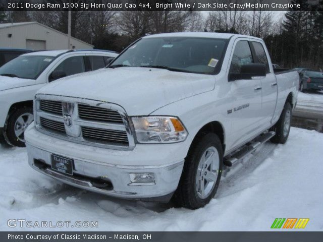 bright white 2011 dodge ram 1500 big horn quad cab 4x4 dark slate gray medium graystone. Black Bedroom Furniture Sets. Home Design Ideas