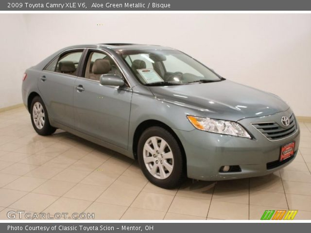 aloe green metallic 2009 toyota camry xle v6 bisque interior vehicle. Black Bedroom Furniture Sets. Home Design Ideas