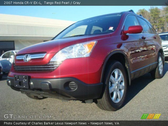 tango red pearl 2007 honda cr v ex l gray interior vehicle archive 44203258. Black Bedroom Furniture Sets. Home Design Ideas
