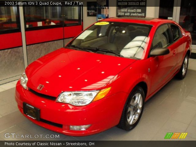 Red 2003 Saturn Ion 3 Quad Coupe Tan Interior Gtcarlot