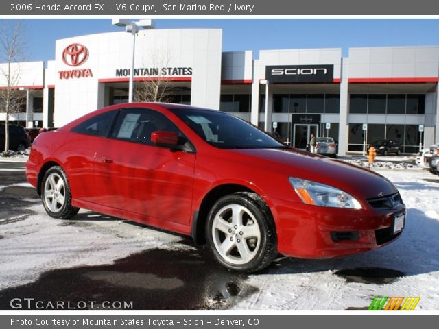 san marino red 2006 honda accord ex l v6 coupe ivory interior vehicle. Black Bedroom Furniture Sets. Home Design Ideas