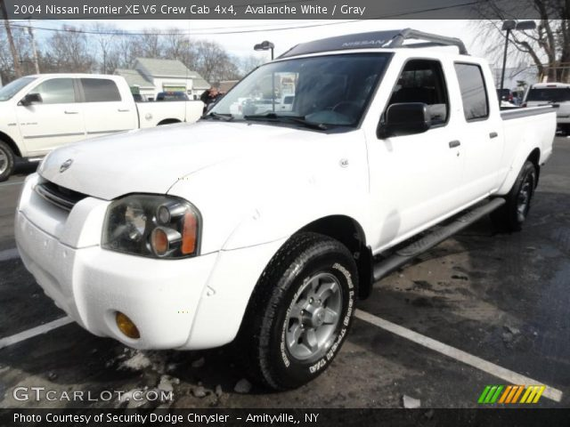 Avalanche White 2004 Nissan Frontier Xe V6 Crew Cab 4x4 Gray