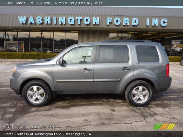 Nimbus Gray Metallic 2009 Honda Pilot Ex L 4wd Beige Interior Vehicle