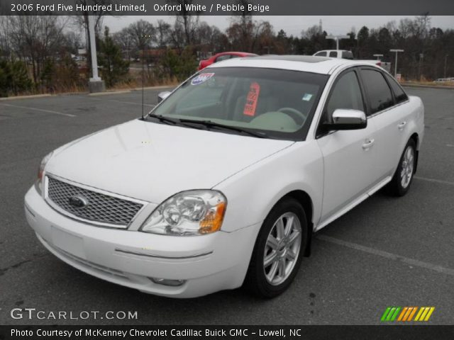 oxford white 2006 ford five hundred limited pebble beige interior vehicle. Black Bedroom Furniture Sets. Home Design Ideas