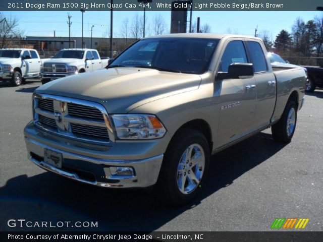 white gold 2011 dodge ram 1500 big horn quad cab 4x4 light pebble beige bark brown interior. Black Bedroom Furniture Sets. Home Design Ideas