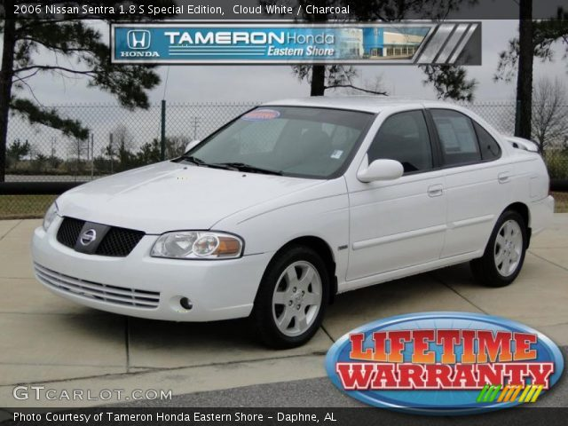cloud white 2006 nissan sentra 1 8 s special edition charcoal interior. Black Bedroom Furniture Sets. Home Design Ideas