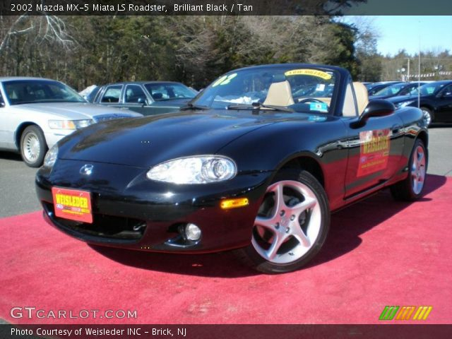 brilliant black 2002 mazda mx 5 miata ls roadster tan. Black Bedroom Furniture Sets. Home Design Ideas