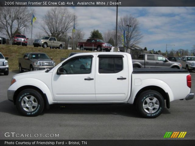 avalanche white 2006 nissan frontier se crew cab 4x4 desert interior. Black Bedroom Furniture Sets. Home Design Ideas