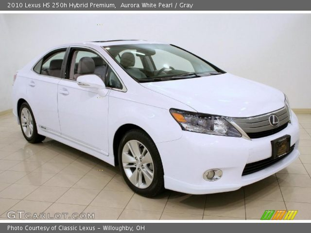 aurora white pearl 2010 lexus hs 250h hybrid premium gray interior vehicle. Black Bedroom Furniture Sets. Home Design Ideas