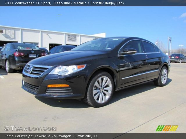 deep black metallic 2011 volkswagen cc sport cornsilk beige black interior. Black Bedroom Furniture Sets. Home Design Ideas