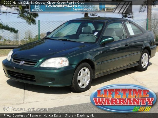 clover green pearl 2000 honda civic ex coupe gray interior vehicle archive. Black Bedroom Furniture Sets. Home Design Ideas