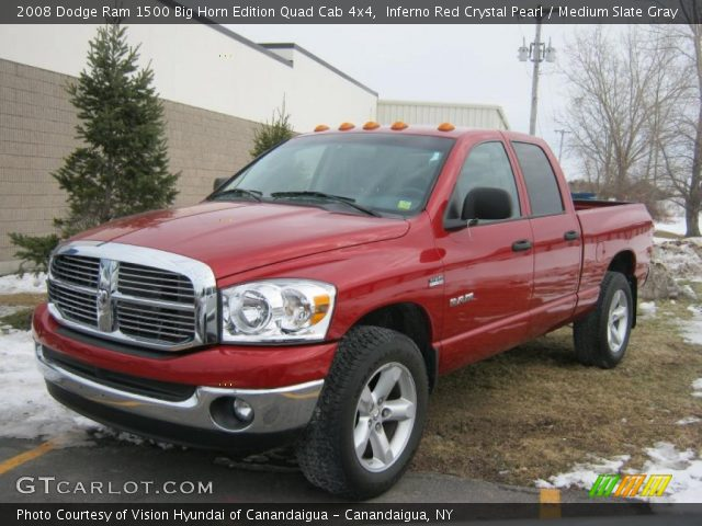 inferno red crystal pearl 2008 dodge ram 1500 big horn edition quad cab 4x4 medium slate. Black Bedroom Furniture Sets. Home Design Ideas