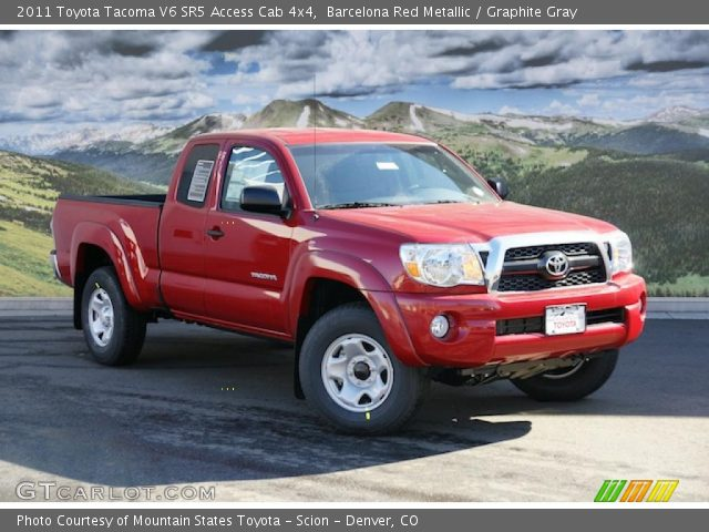 barcelona red metallic 2011 toyota tacoma v6 sr5 access cab 4x4 graphite gray interior. Black Bedroom Furniture Sets. Home Design Ideas