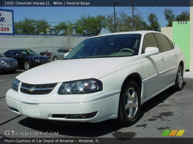 white 2005 chevrolet impala ls neutral beige interior. Black Bedroom Furniture Sets. Home Design Ideas